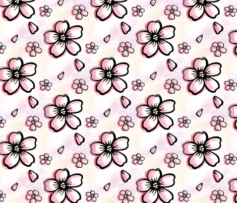 Sakura Flower fabric by lmlloyd-designs on Spoonflower - custom fabric