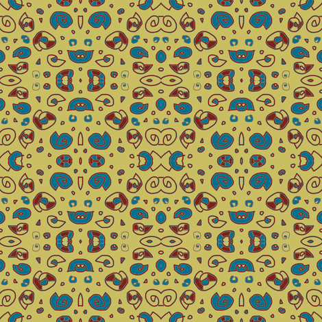 Greek Shells Ditsy Khaki Red Teal fabric by marie_s on Spoonflower - custom fabric