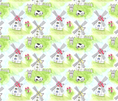 Hollandia - Windmills fabric by pennydog on Spoonflower - custom fabric
