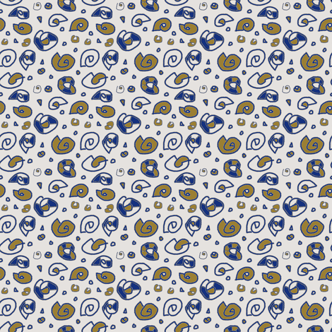 Greek Shells Ditsy Khaki Blue White fabric by marie_s on Spoonflower - custom fabric