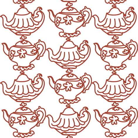 Teapots (red) fabric by pattyryboltdesigns on Spoonflower - custom fabric