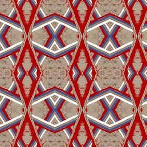 Arabian Canopy Taupe Red Blue White