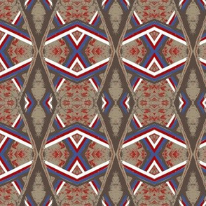 Arabian Canopy Taupe Blue Red White