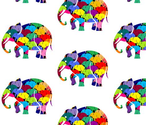 Small Elephant Rush Black fabric by mandollyn on Spoonflower - custom fabric