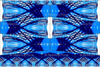 Blue Spirograph Loops on Sheer Voile, Skirt or Dress Making Panels