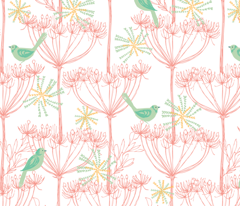 sketchy plants & birds - pink fabric by bethan_janine on Spoonflower - custom fabric