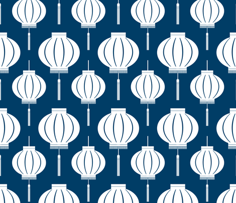 Chinese Lantern (Navy) fabric by blackpomegranate on Spoonflower - custom fabric