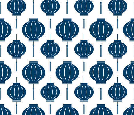 Chinese Lantern Reverse (Navy) fabric by blackpomegranate on Spoonflower - custom fabric