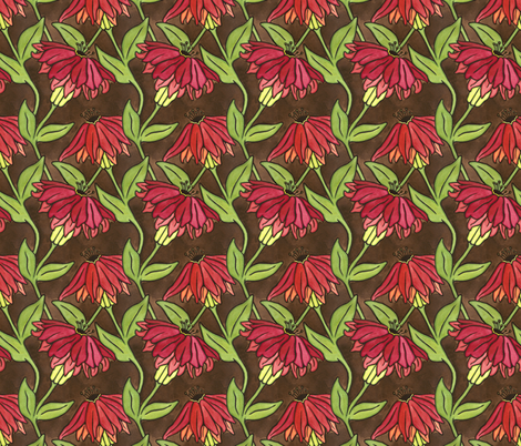 Red Flowers Basic fabric by sarah_angst_arts on Spoonflower - custom fabric