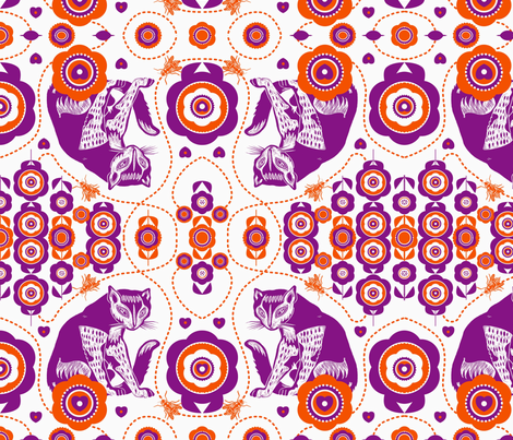 cats in the Garden fabric by pulp on Spoonflower - custom fabric