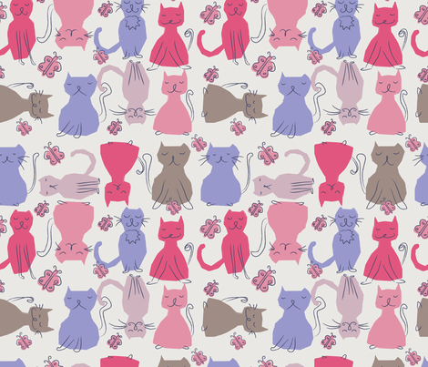 Miaow Miaow fabric by mondaland on Spoonflower - custom fabric