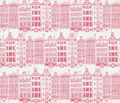 DutchHouses red on white fabric by blue_jacaranda on Spoonflower - custom fabric