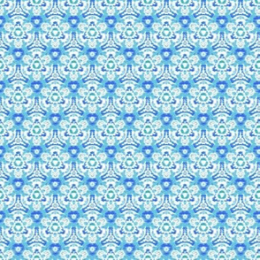 Floral ikat scribbles II -- in summer blues and greens