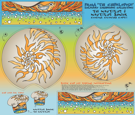 The Chefalopod presents: Nautilus & Nautilus Jr. Chef Hats!! fabric by sammyk on Spoonflower - custom fabric
