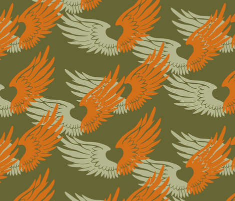 Heartwings: Tangerine, Beige, Olive fabric by penina on Spoonflower - custom fabric