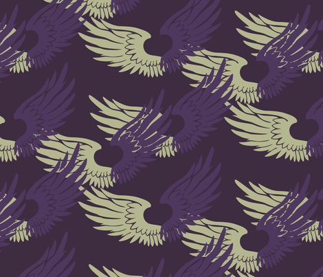 Heartwings: Purple, Beige fabric by penina on Spoonflower - custom fabric