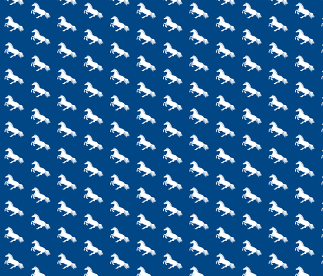 Blue and White Pony fabric by thistleandfox on Spoonflower - custom fabric