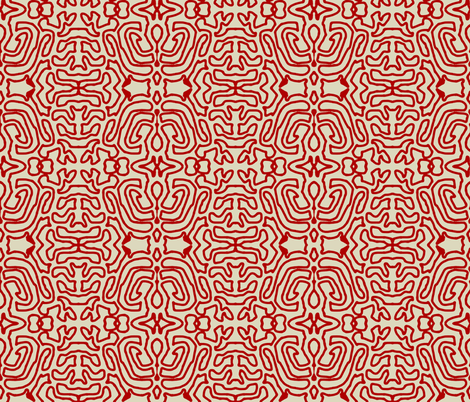 Drawing Red Linen fabric by marie_s on Spoonflower - custom fabric