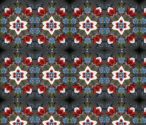 Norwegian Rosemaling Christmas tulips red white blue fabric by forestwooddesigns on Spoonflower - custom fabric