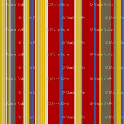 Red Gold Mud Blue Linen Stripe