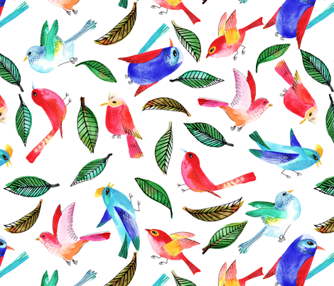 amour d'oiseau sans nuage fabric by nadja_petremand on Spoonflower - custom fabric