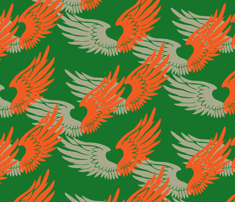 Heartwings: Green, Tangerine, Beige fabric by penina on Spoonflower - custom fabric