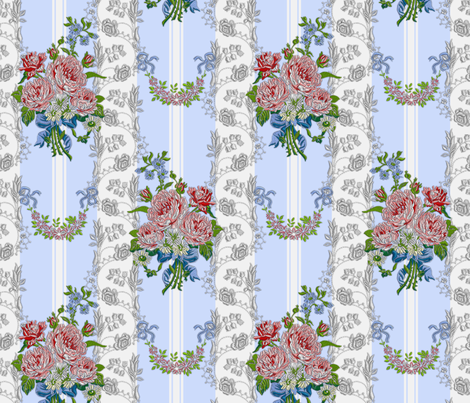 Embroidered Roses Brocade Stripes - Blue fabric by bonnie_phantasm on Spoonflower - custom fabric