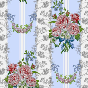 Embroidered Roses Brocade Stripes - Blue