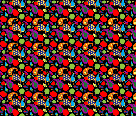 Tomato Tornado Black fabric by periwinklepaisley on Spoonflower - custom fabric