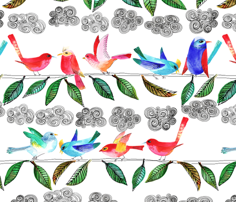 amour d'oiseau sur la branche fabric by nadja_petremand on Spoonflower - custom fabric