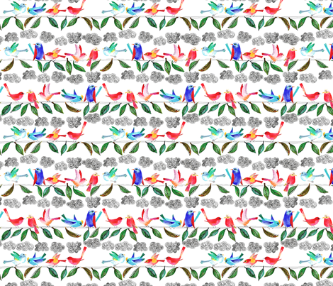 amour d 'oiseau sur la branche M fabric by nadja_petremand on Spoonflower - custom fabric