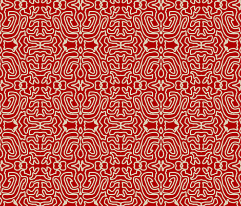 Drawing Linen Red fabric by marie_s on Spoonflower - custom fabric
