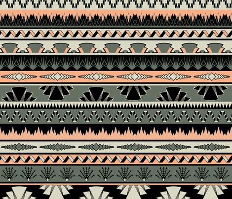 Art deco stripes - salmon fabric by ravynka on Spoonflower - custom fabric