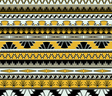 Art deco stripes - yellow fabric by ravynka on Spoonflower - custom fabric