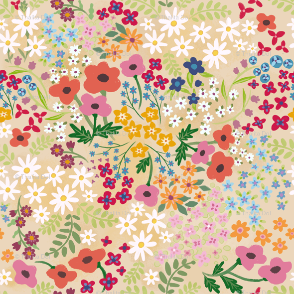 Spring Flowers Wallpaper Thalita Dol Spoonflower