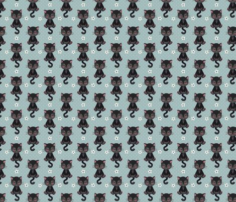 Black Kitten fabric by thalita_dol on Spoonflower - custom fabric