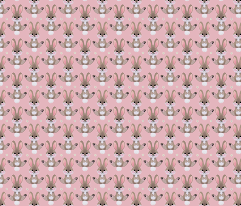 Spring bunny (pink) fabric by thalita_dol on Spoonflower - custom fabric