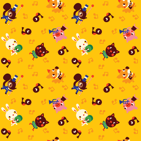 retroanimals_yellow fabric by bora on Spoonflower - custom fabric