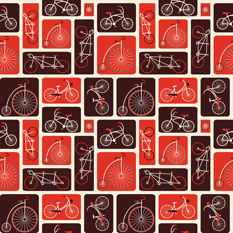 Retro Red Bicycle Love fabric by ebygomm on Spoonflower - custom fabric