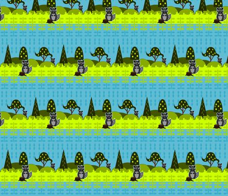Shy Racoons fabric by ninjaauntsdesigns on Spoonflower - custom fabric