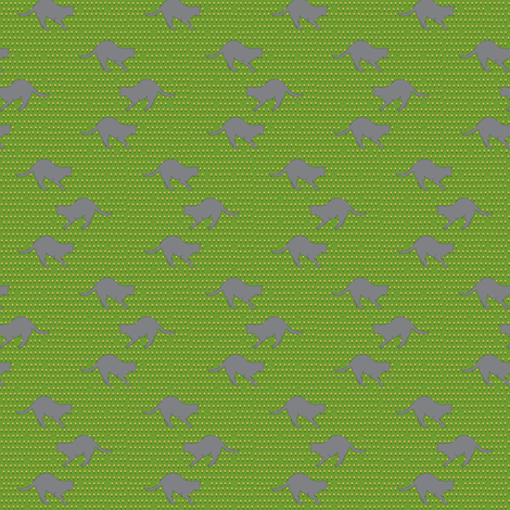 Cat & flower on green fabric by carrie_narducci on Spoonflower - custom fabric