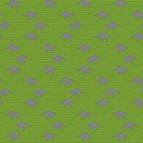 Cat & flower on green