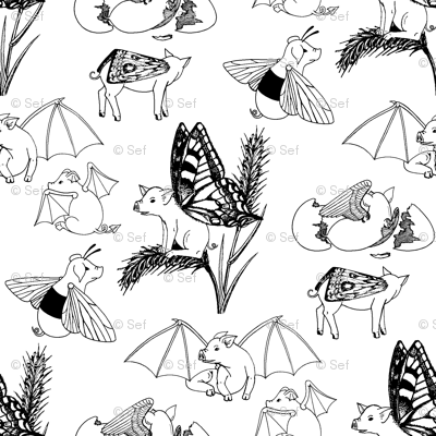 01122063 : flying pigs toile