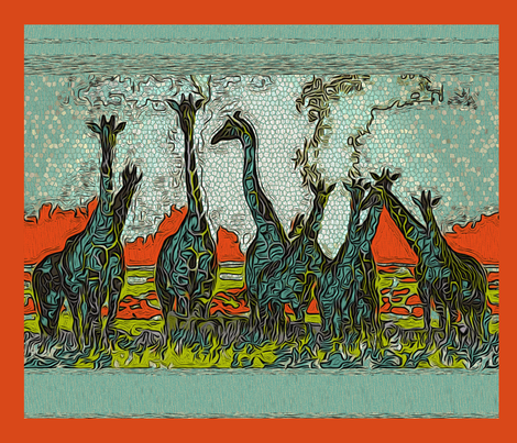 """Giraffe Horizon"" (pillows) fabric by mktextile on Spoonflower - custom fabric"