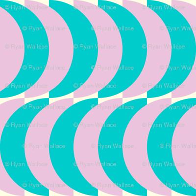 Blue and Pink Half Circles
