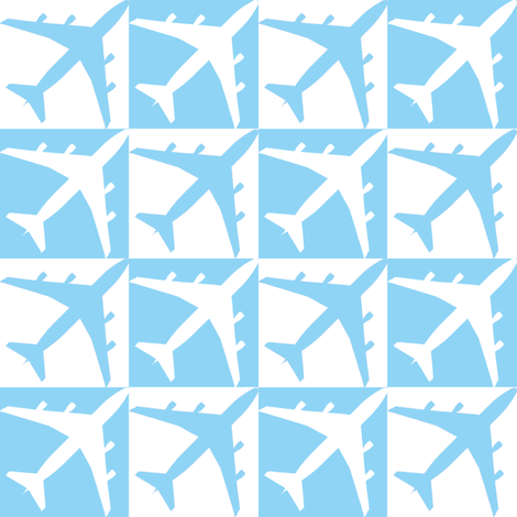 Blue Plane Checker fabric by toothpanda on Spoonflower - custom fabric