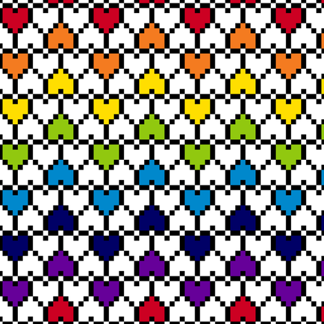 Small Pixel Hearts Rainbow fabric by modgeek on Spoonflower - custom fabric