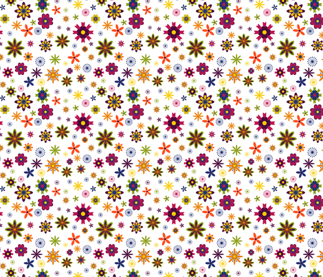 Oober Bright Flowers fabric by lauramarshdesigns on Spoonflower - custom fabric