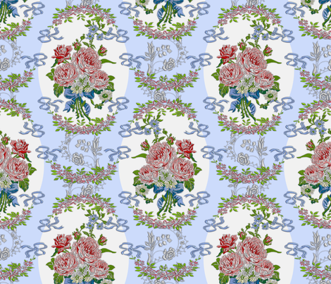 Embroidered Roses Brocade Medaillons - Blue fabric by bonnie_phantasm on Spoonflower - custom fabric