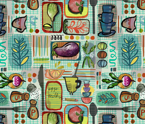 Eclectic Kitchen fabric by gsonge on Spoonflower - custom fabric